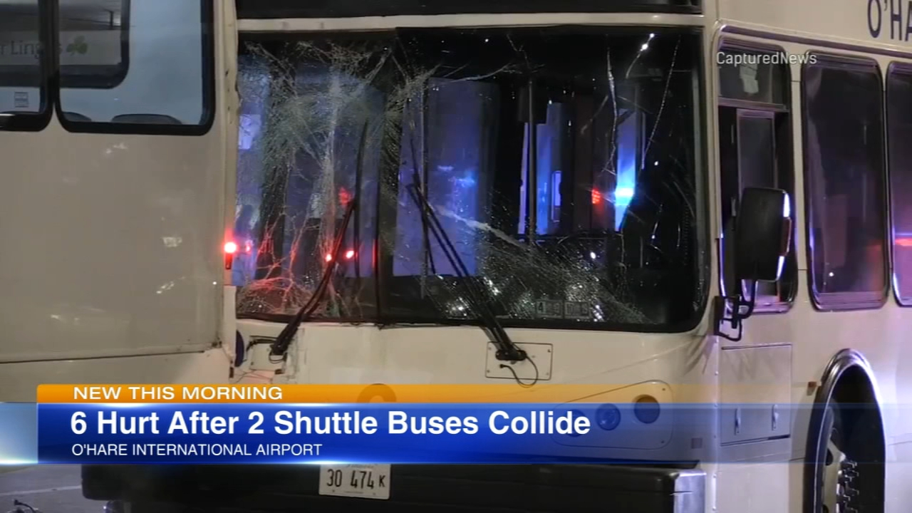 Six people were sent to the hospital after a shuttle collision at OHare Airport.
