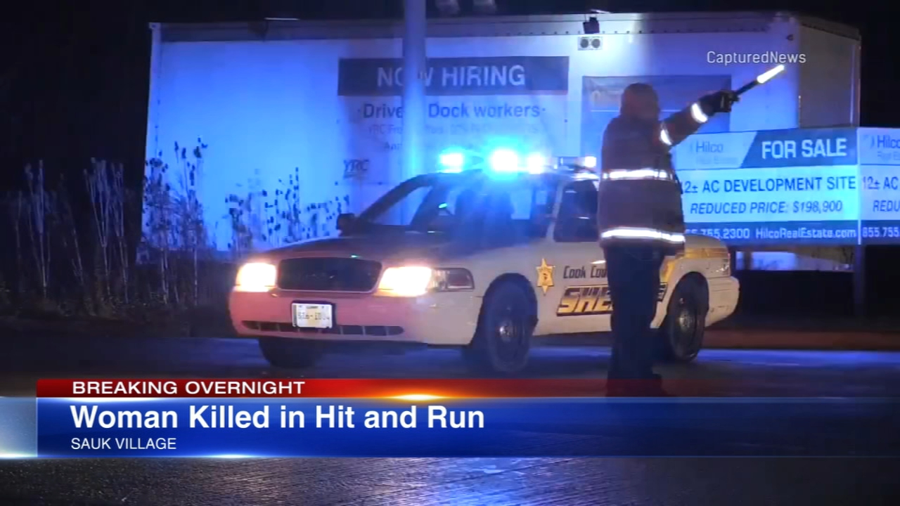 A woman was killed in a hit-and-run in Sauk Village Sunday night, the Cook County Sheriffs Office said.