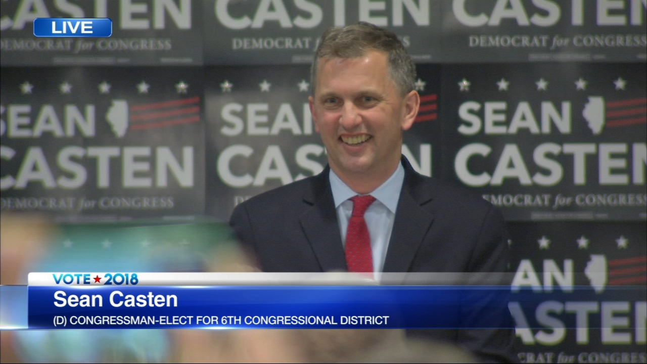 Democrat Sean Casten has defeated six-term Republican Rep. Peter Roskam to flip a suburban Chicago district the GOP has held for more than four decades.