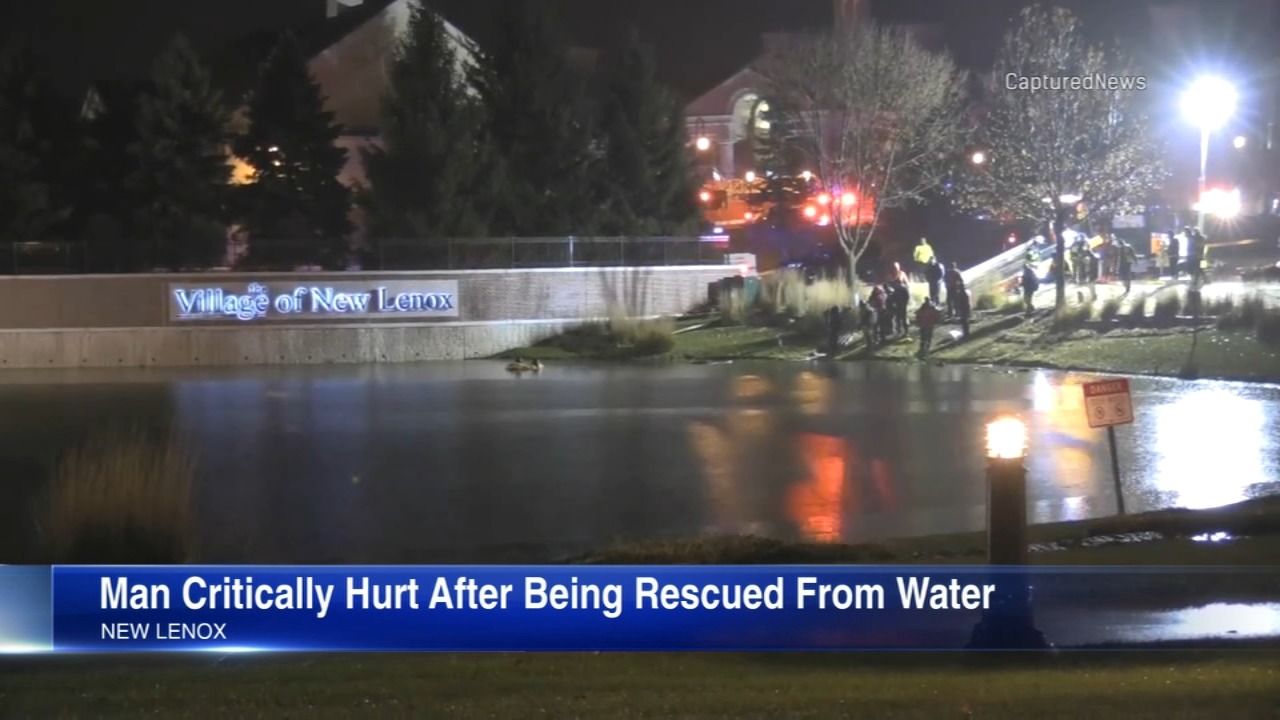 A man was critically hurt after he was pulled from a car submerged in a retention pond in New Lenox.