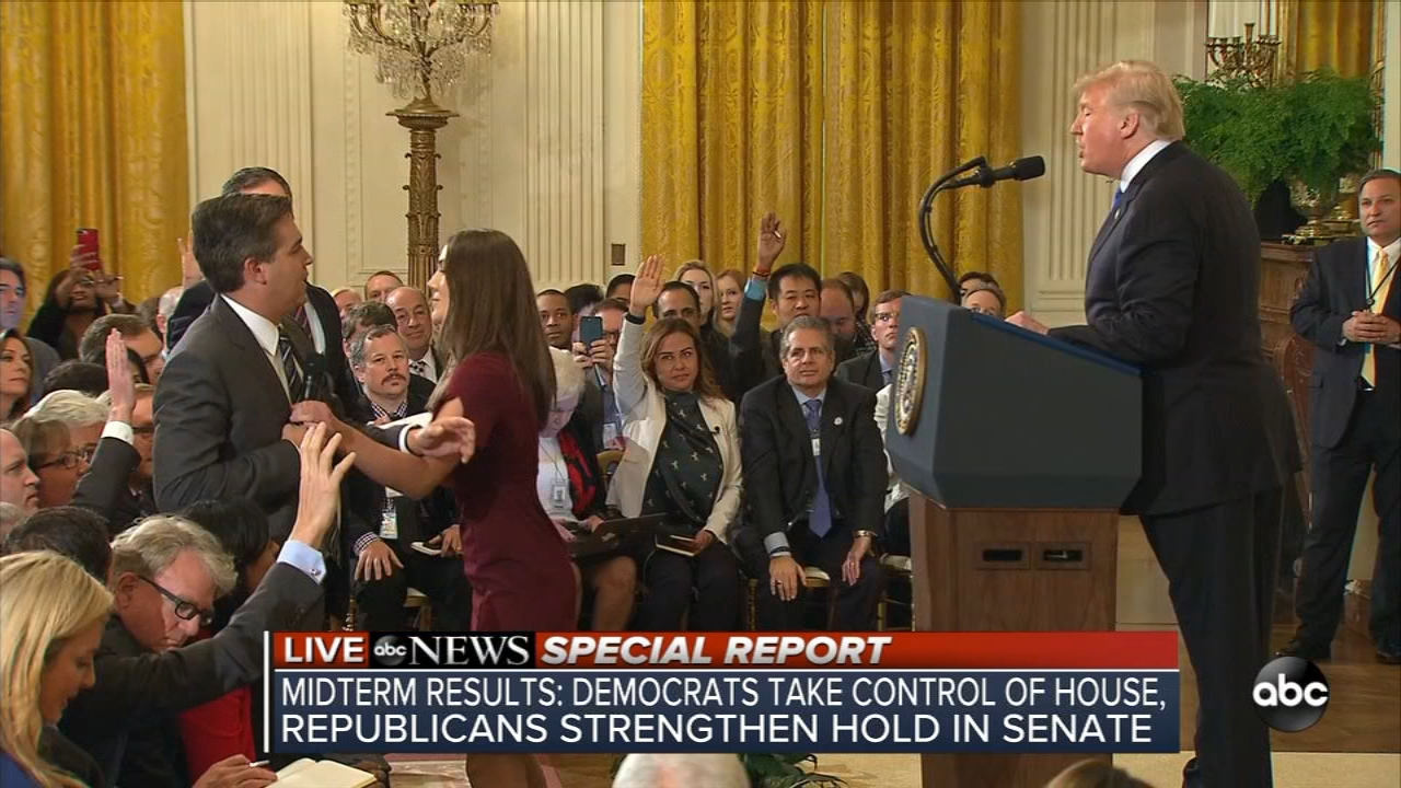 President Trump sparred with CNNs Jim Acosta at a news conference Wednesday. A White House staffer took his microphone before Trump called him a rude, terrible person.
