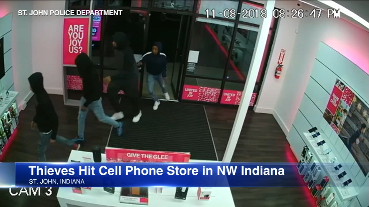 A group of robbers suspected in two dozen cell phone store robberies was caught on tape Thursday.