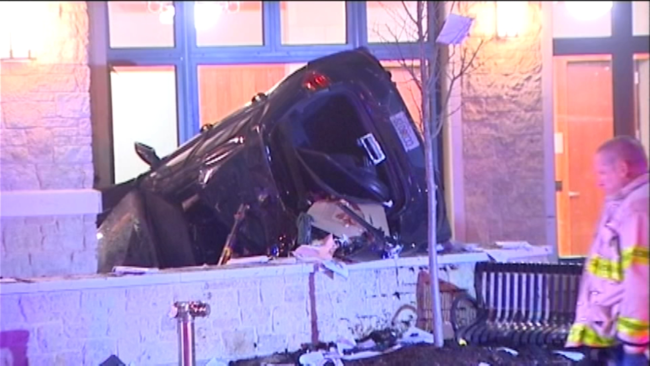 The brand-new Arlington Heights police building was damaged after a car slammed into the building, which is still under construction.