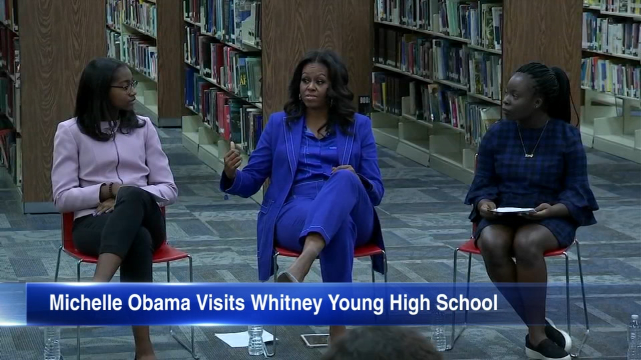Michelle Obama visited Whitney Young High School in Chicago on Monday, a day before her new book, Becoming, is released.