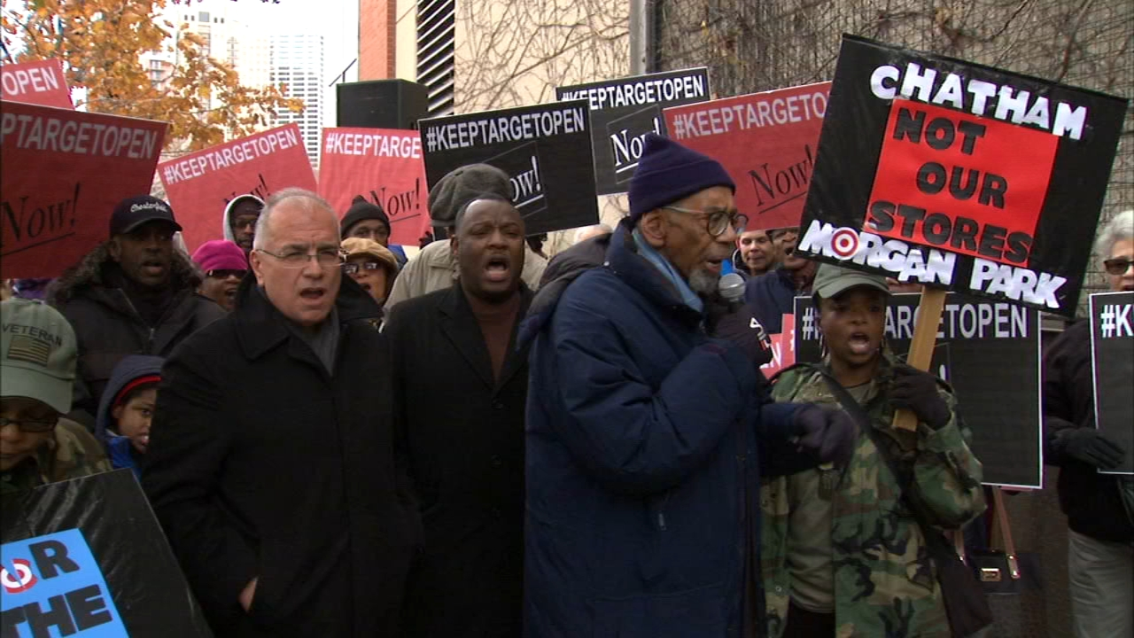 A group rallied on Monday in an effort to save two Target stores on Chicago's South Side.