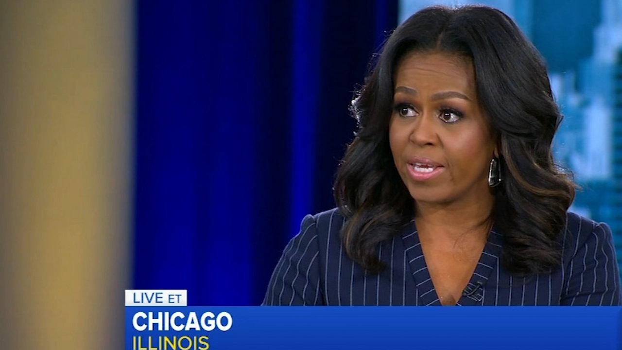Former First Lady Michelle Obama kicked off the book tour for her memoir, Becoming, in Chicago Tuesday.