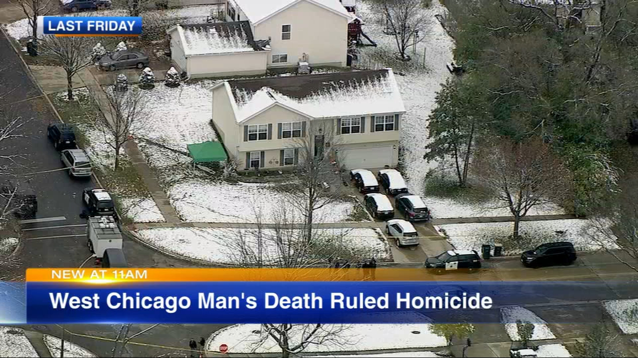 The death of a 26-year-old West Chicago man was ruled a homicide, the DuPage County Coroners Office said Wednesday.