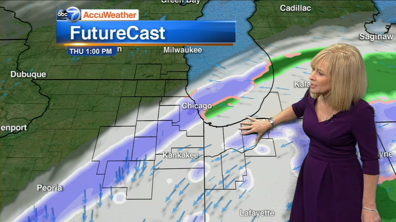 Snow is coming to the Chicago area Thursday morning.