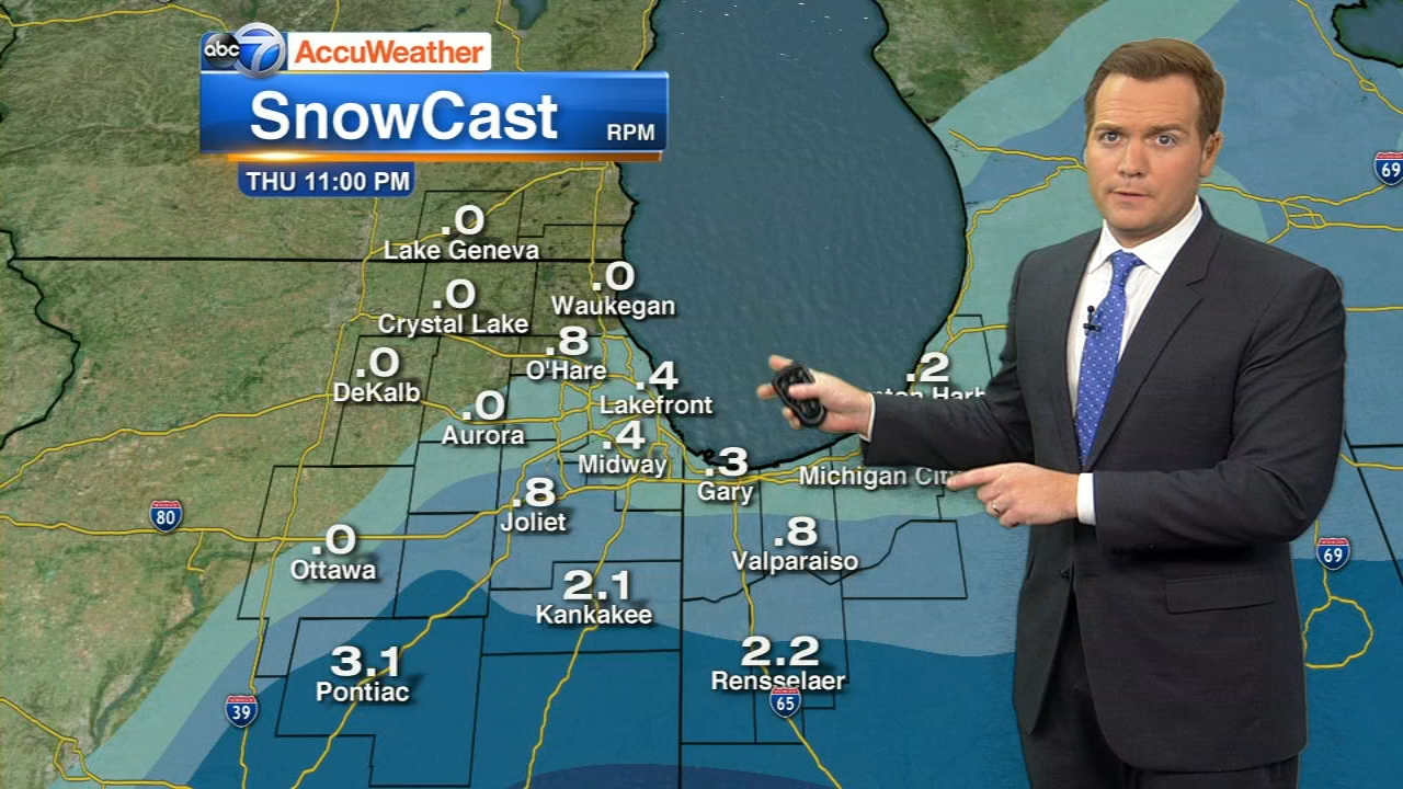 The Chicago area will get some snow on Thursday.