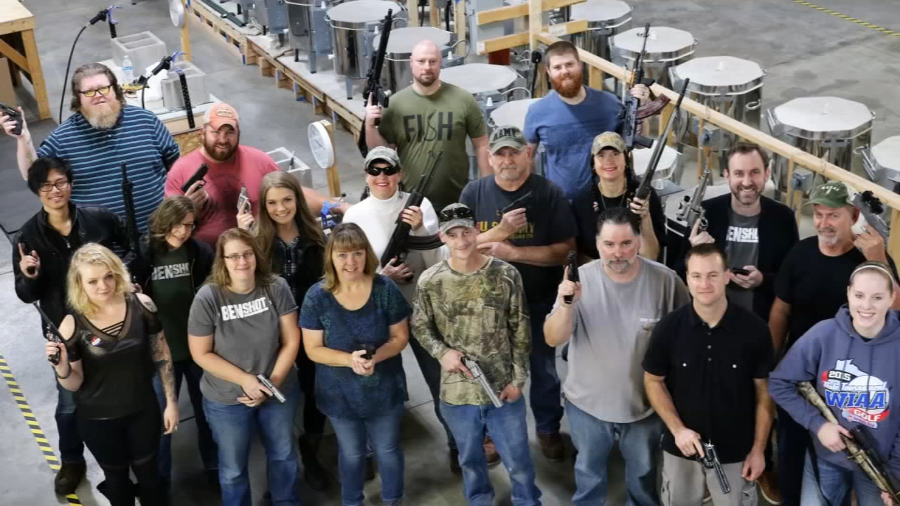 A Wisconsin company is giving employees revolvers for Christmas in what it said is an effort to promote personal safety and team building.