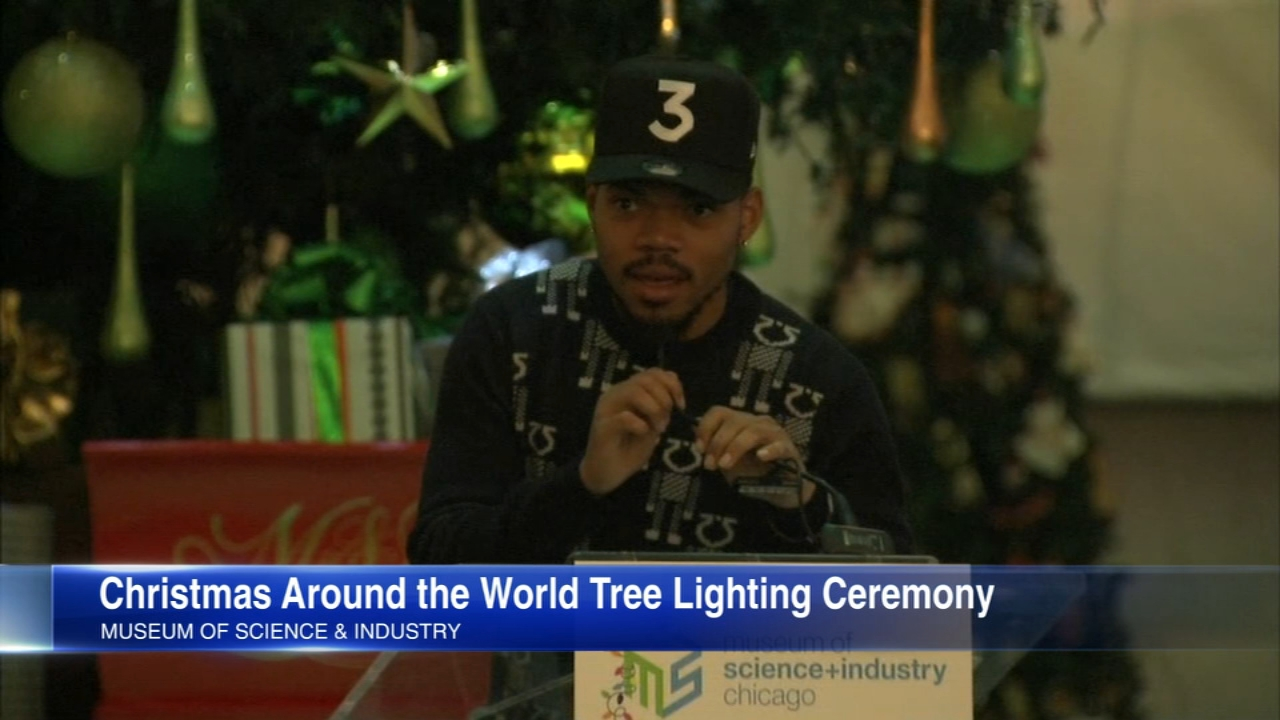 Chance the Rapper helped light a 45-foot Christmas tree at the Museum of Science and Industry Thursday to kick off the 76th annual Christmas Around the World Holidays of Light.