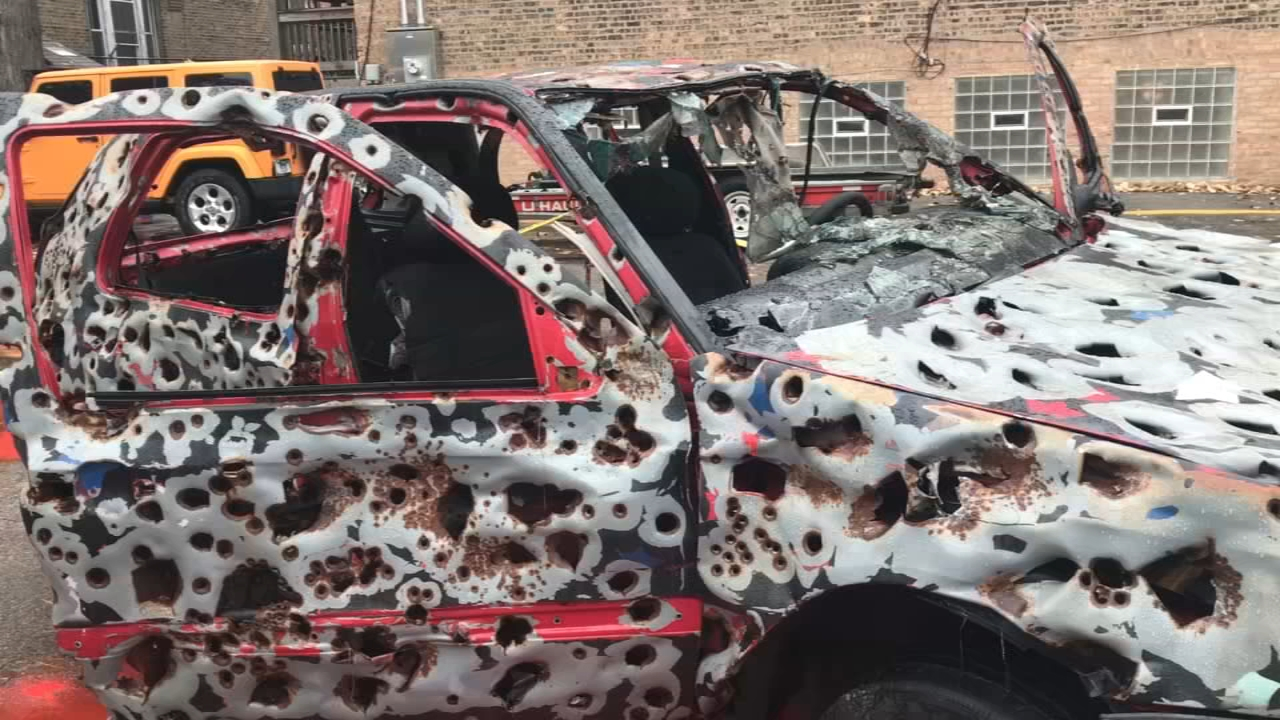 Artist Viktor Mitic said he fired more than 6,000 rounds at his Shot Up Car to show the ramifications of gun violence.