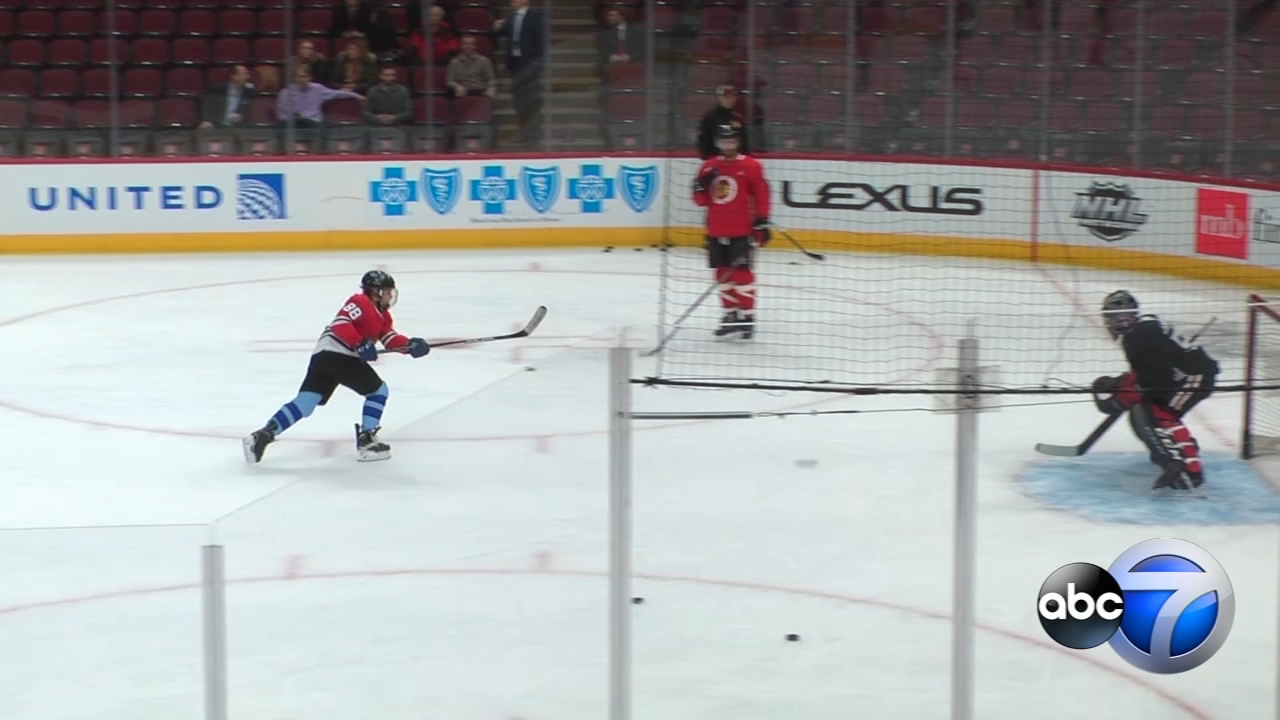 With an assist from the Chicago Blackhawks, 11-year-old Carter Holmes skated past his cancer battle this morning.