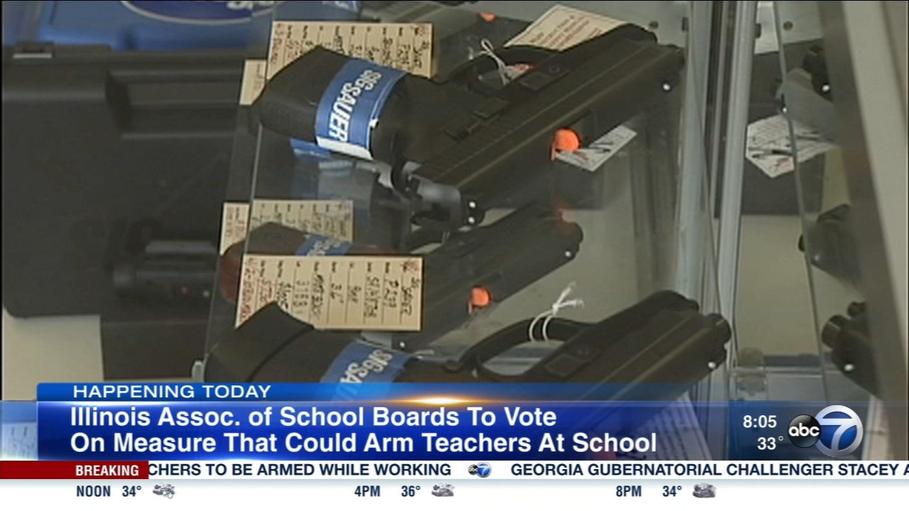 The Illinois Association of School Boards is expected to vote Saturday on a measure that may allow teachers to be armed at school.