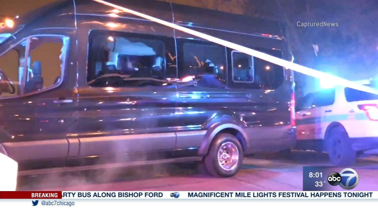 Two people were injured in a party bus shooting early Saturday.