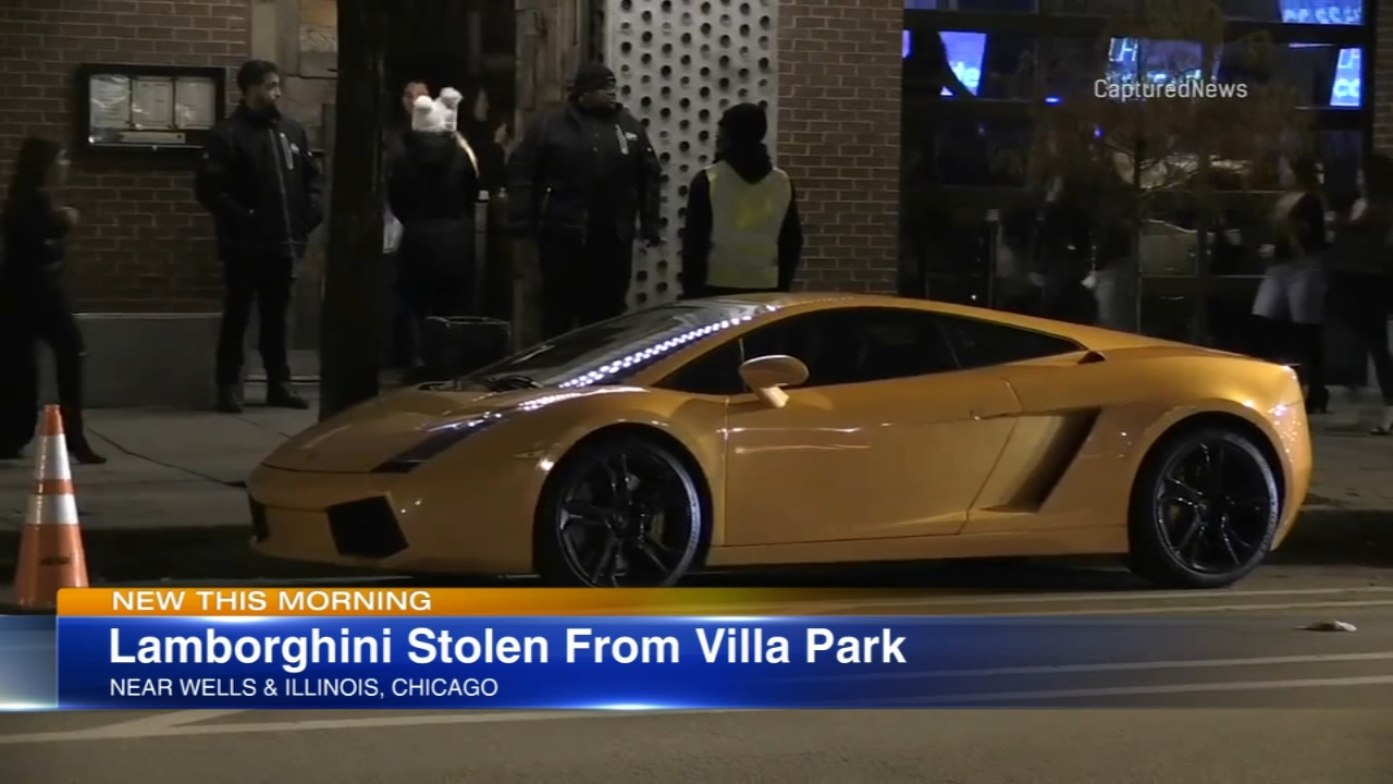 Police say a Lamborghini stolen from the suburbs was found in the city Saturday night.