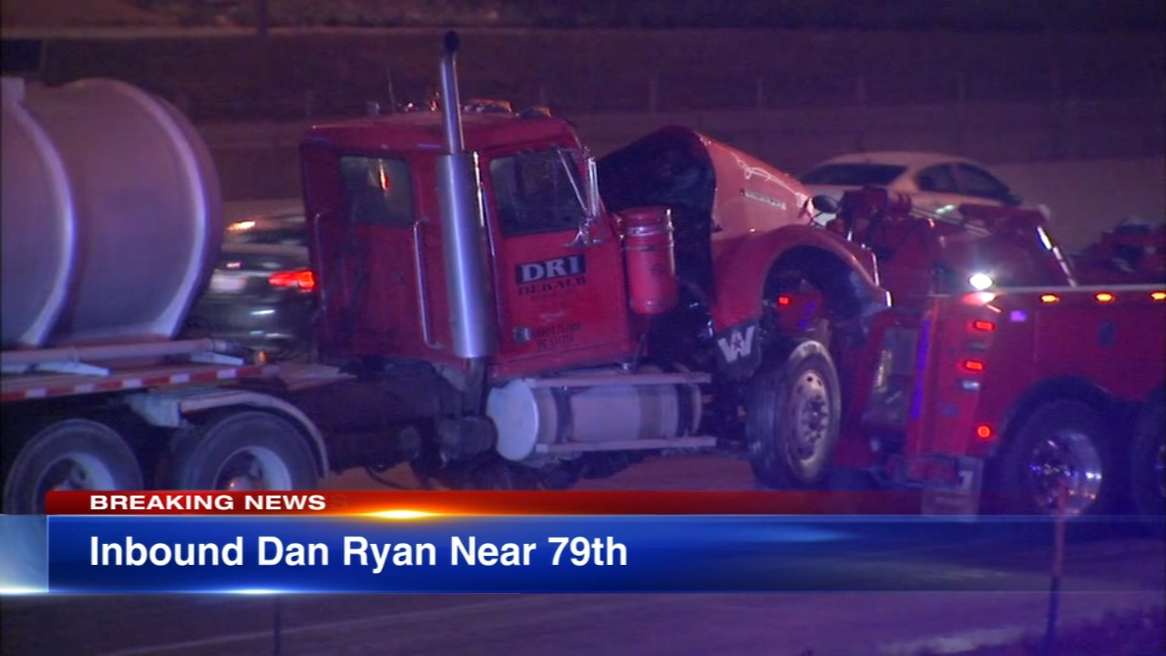 Three people were injured after a crash involving a semi-trailer and a tanker on the Dan Ryan Expressway Monday morning.