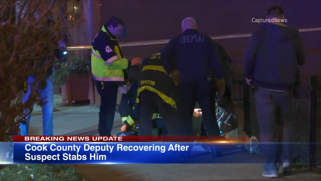 A Cook County sheriffs deputy is recovering after being stabbed by a wanted suspect Monday.