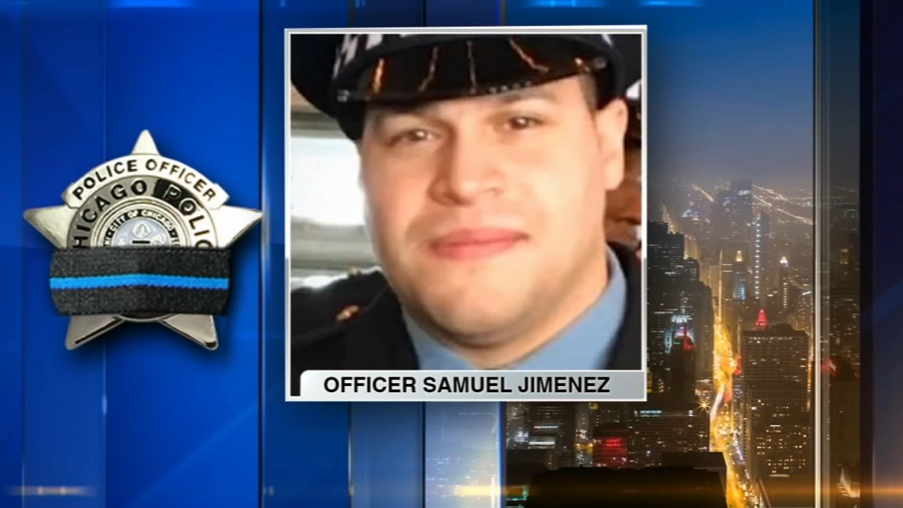 Memorial bunting is now in place at the Chicago Police 2nd District, home of fallen Officer Samuel Jimenez.