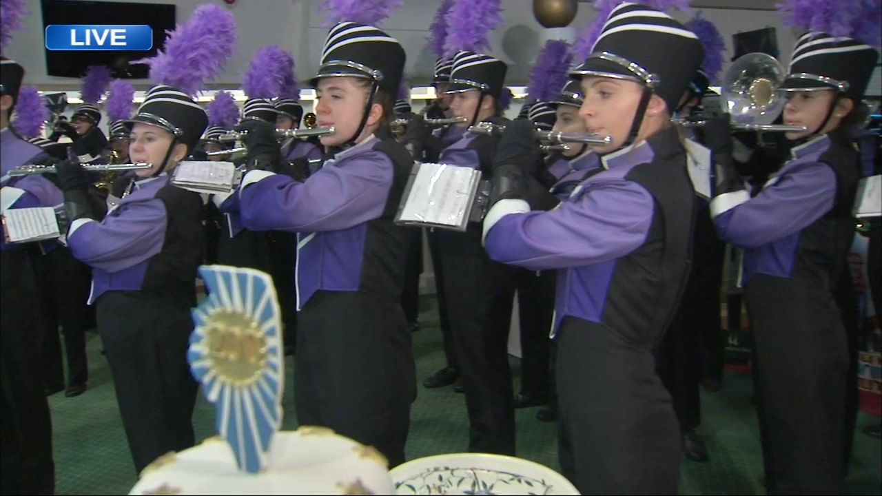 The Arlington Heights High School Marching Mustangs helped ABC7 celebrate the upcoming Illinois Bicentennial.
