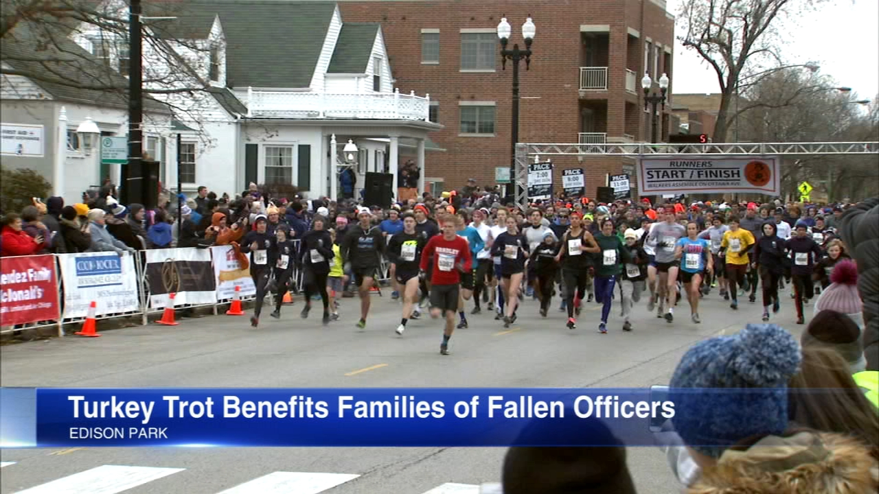 People in Edison Park remembered a fallen Chicago police officer as thousands gathered for a turkey trot run Thursday morning.