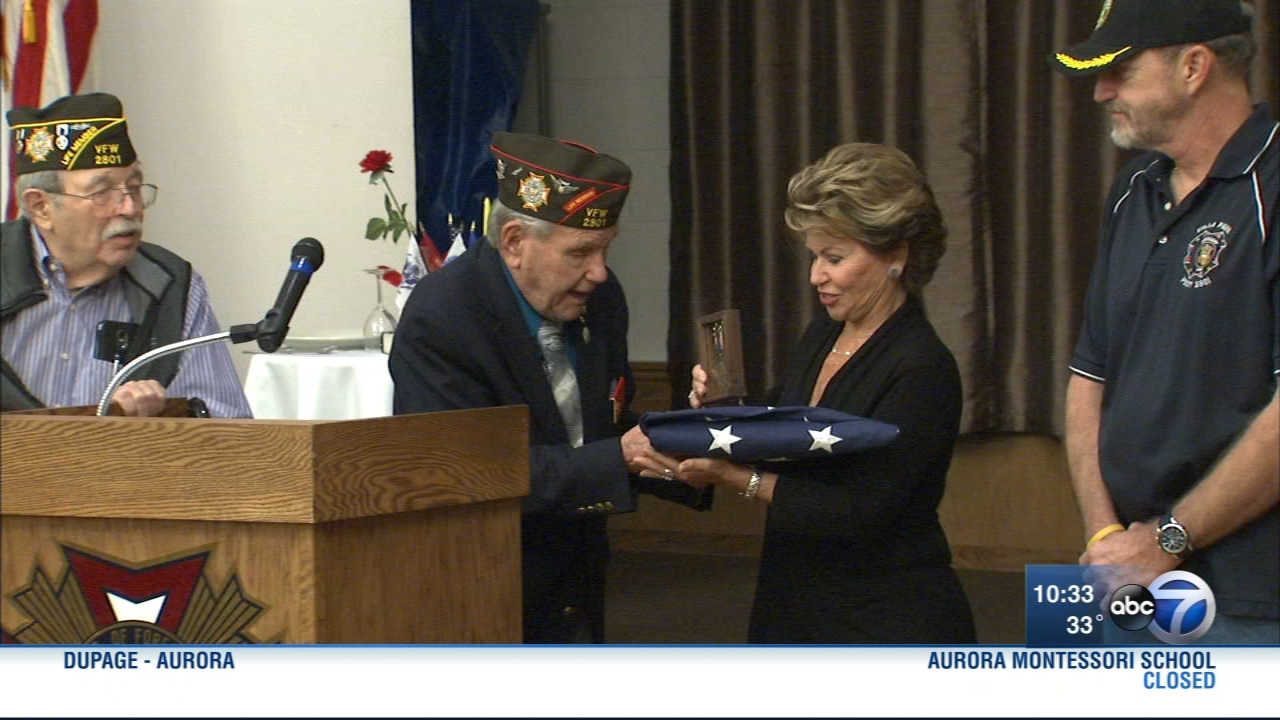 Janice Sguardo, the daughter of Frank Rush – an Air Corps pilot who died in 2003 at the age of 78, flew in from Arizona to be presented with the medal during a ceremony at the Vill