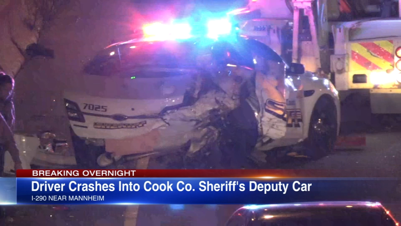Authorities say Cook County Sheriffs deputy was hurt checking out a minor crash on the side of the I-290 Eisenhower expressway when his squad car was rear-ended by another driver.