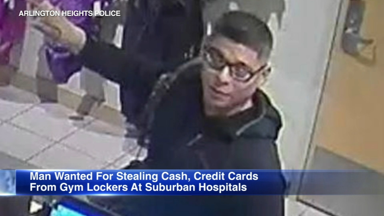 Authorities released new surveillance photos of a man wanted for breaking into mens lockers at several suburban hospitals.