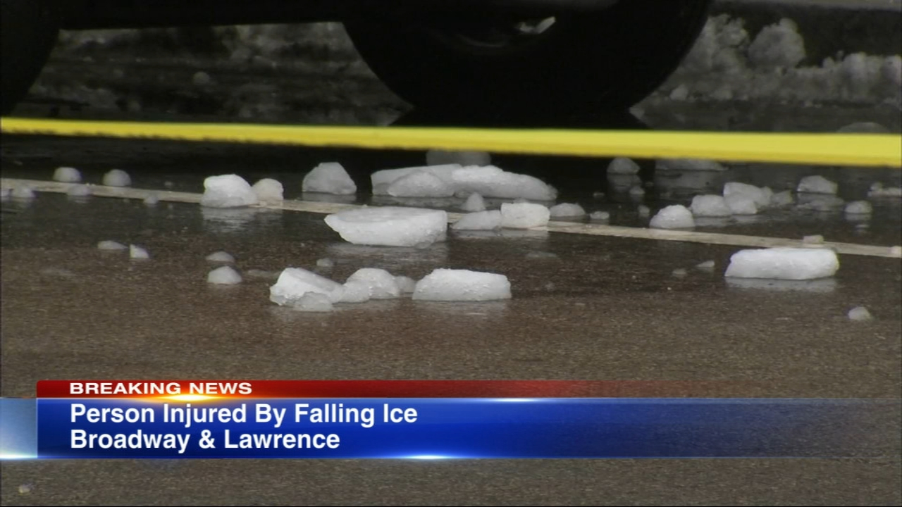 A person was struck by ice falling off a building in the Loop Friday.