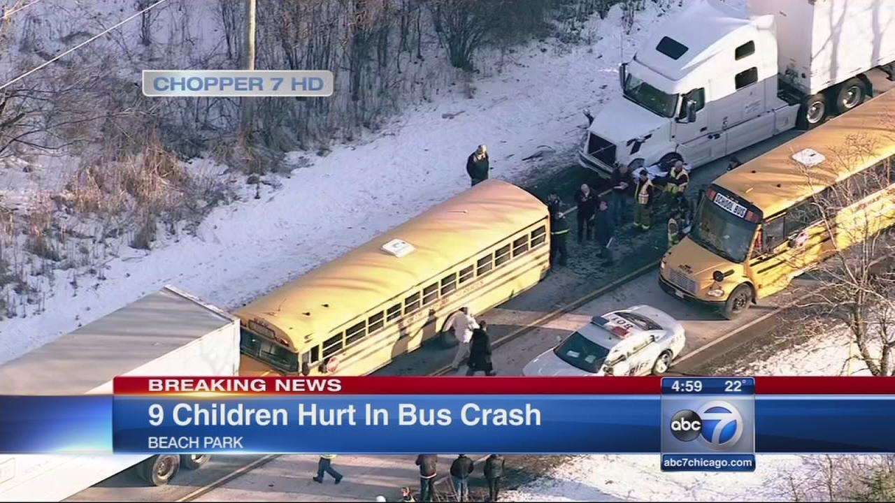 School bus involved in Beach Park crash; 9 students injured