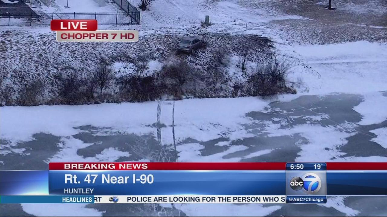 SUV rolls over, car lands in ditch in Huntley