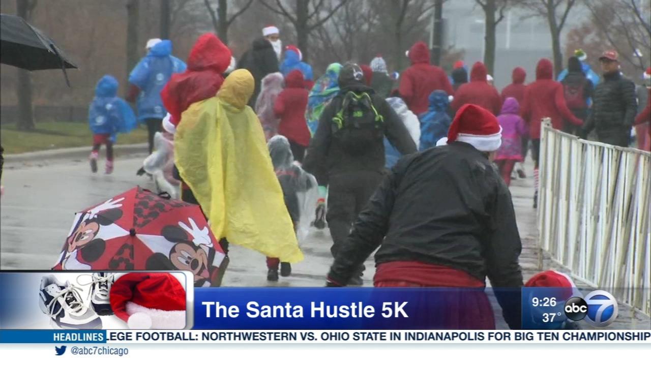 The annual Santa Hustle 5K raises money for pediatric cancer research.