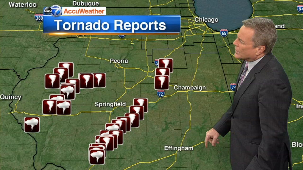 Several tornadoes were reported in central Illinois on Saturday.