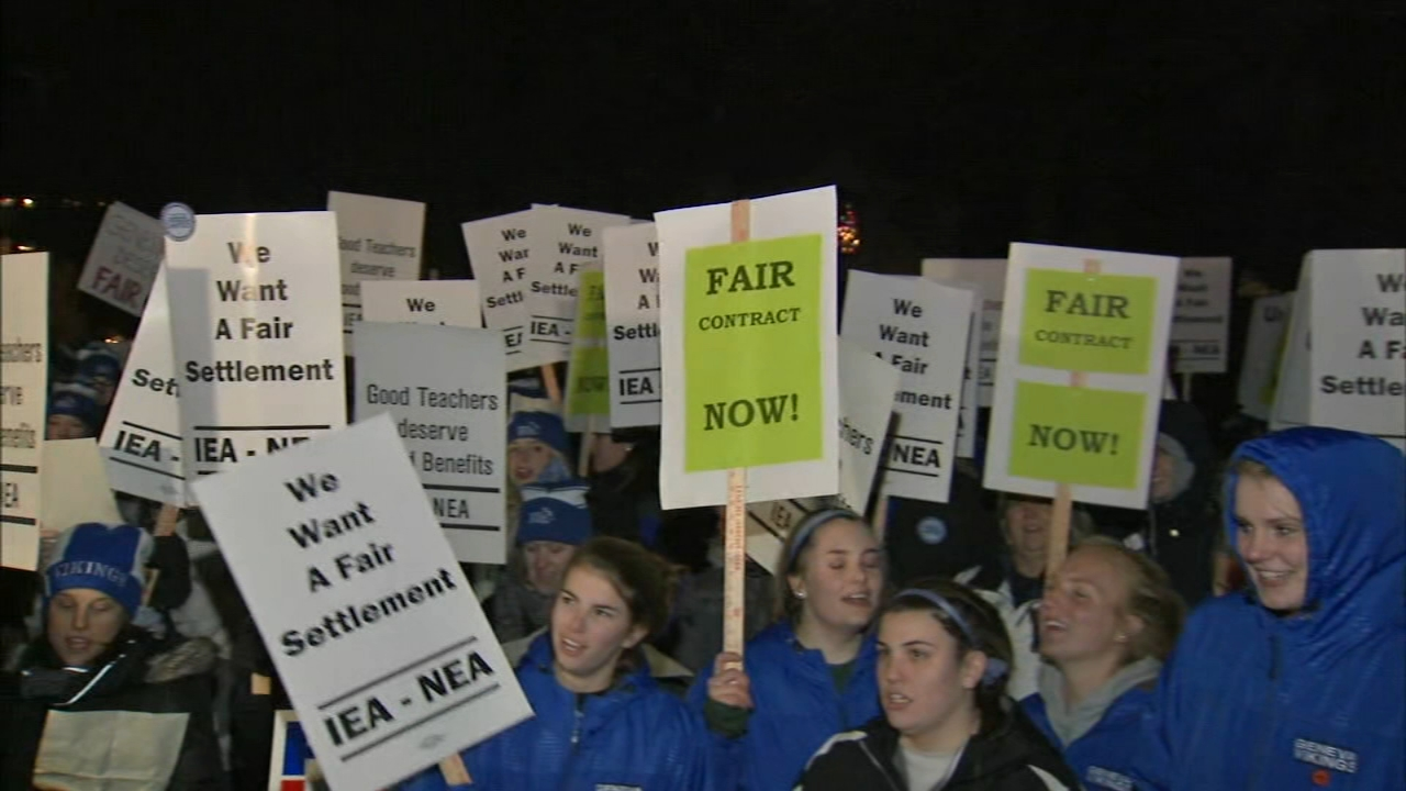 Teachers in west suburban Geneva said they will strike if a deal on their new contract isnt reached Monday night.