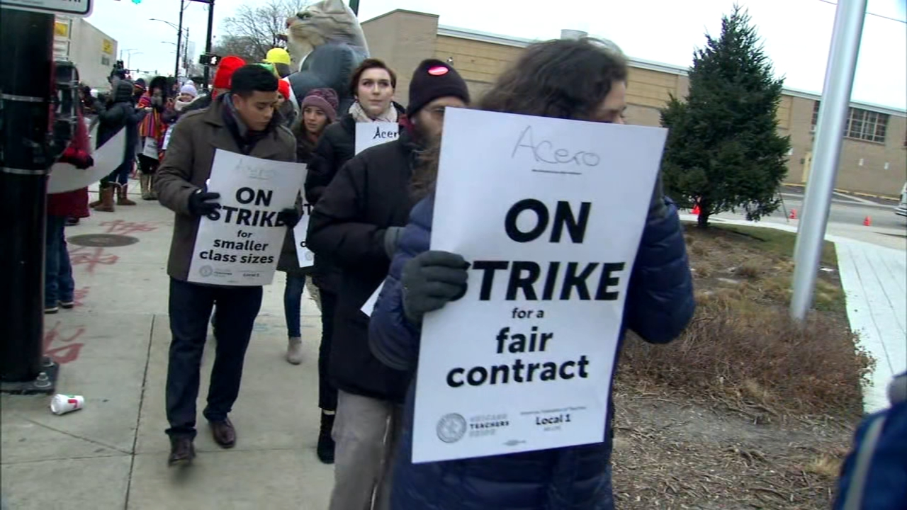 Teachers, counselors and office workers at Acero charter schools in Chicago went on strike Tuesday, the first such strike by charter school teachers in U.S. history.