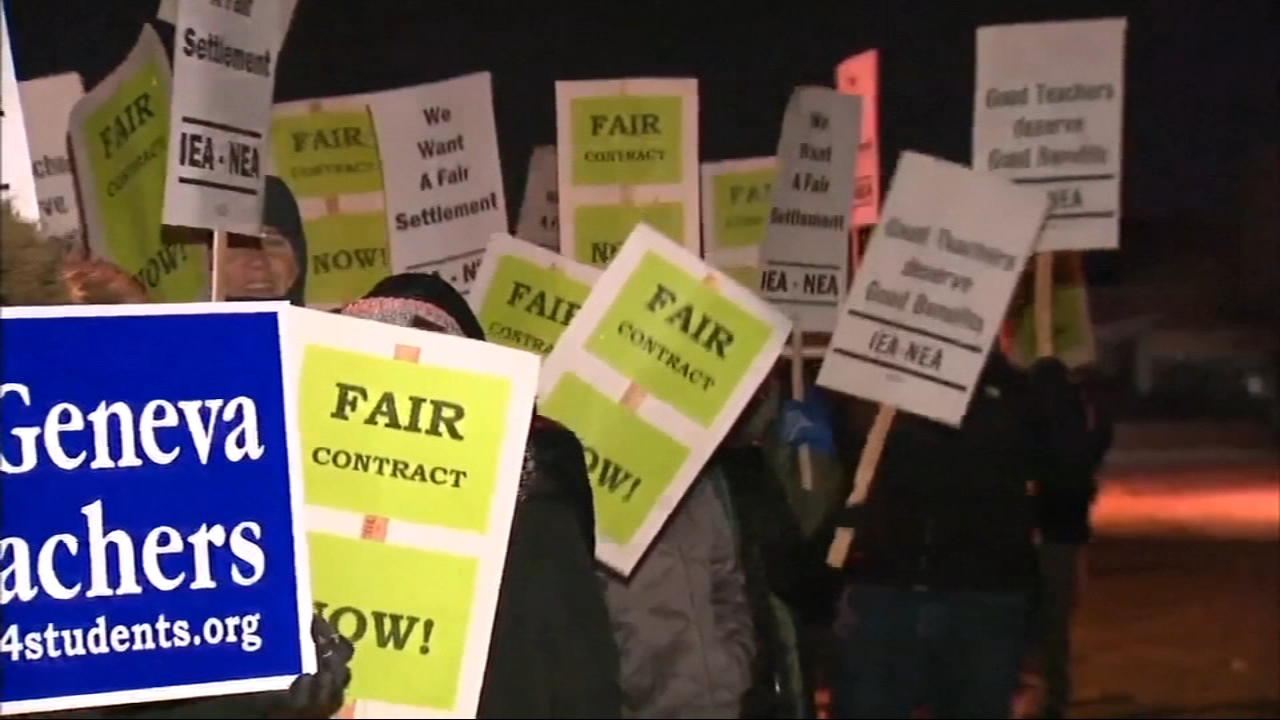 Teachers in Geneva School District 304 went on strike Tuesday morning after negotiations broke down overnight.