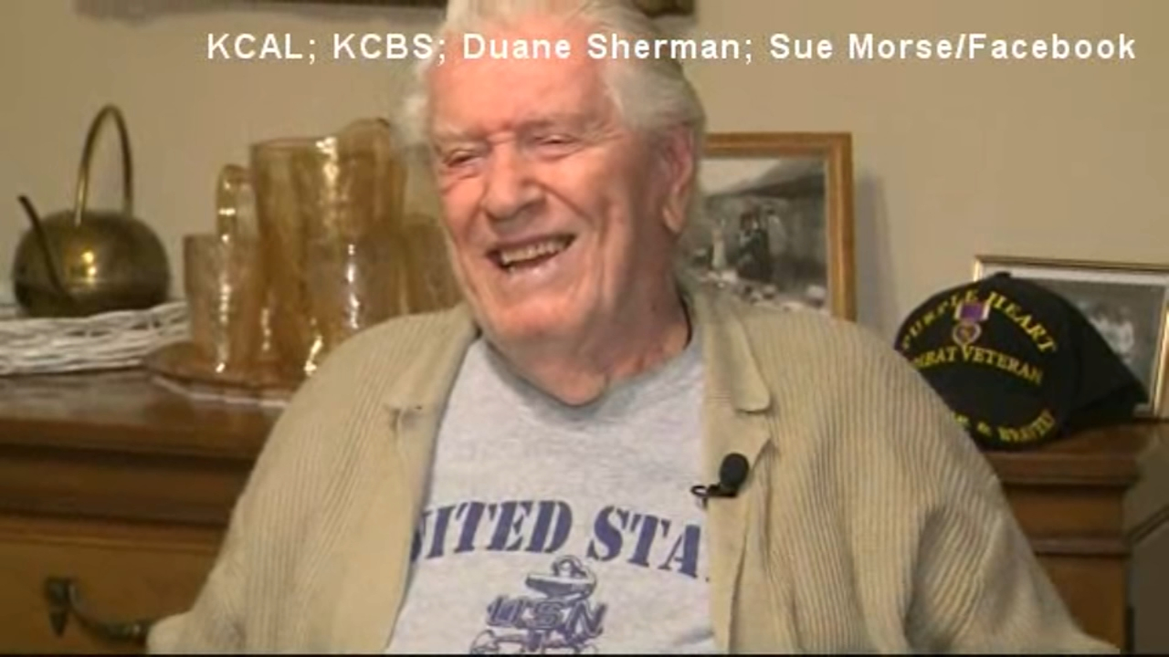 World War II veteran Duane Sherman, who lives in Highland, California, will turn 96 on Dec. 30.