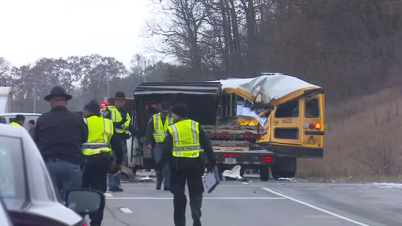 A student died Wednesday morning after a crash involving a school bus and a truck near Argos, Indiana.