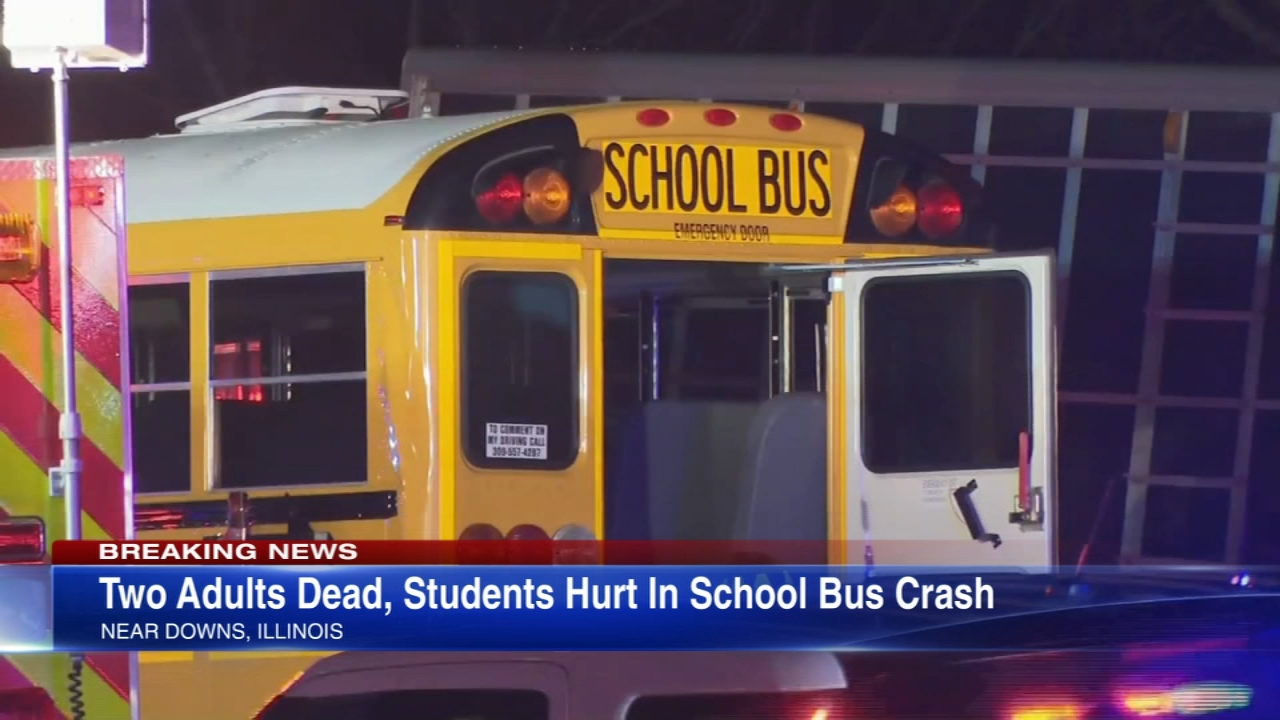 Two adults were killed and several students injured after a head-on crash, wrong-way crash between a semi and a school bus near Bloomington, Ill. Wednesday night.