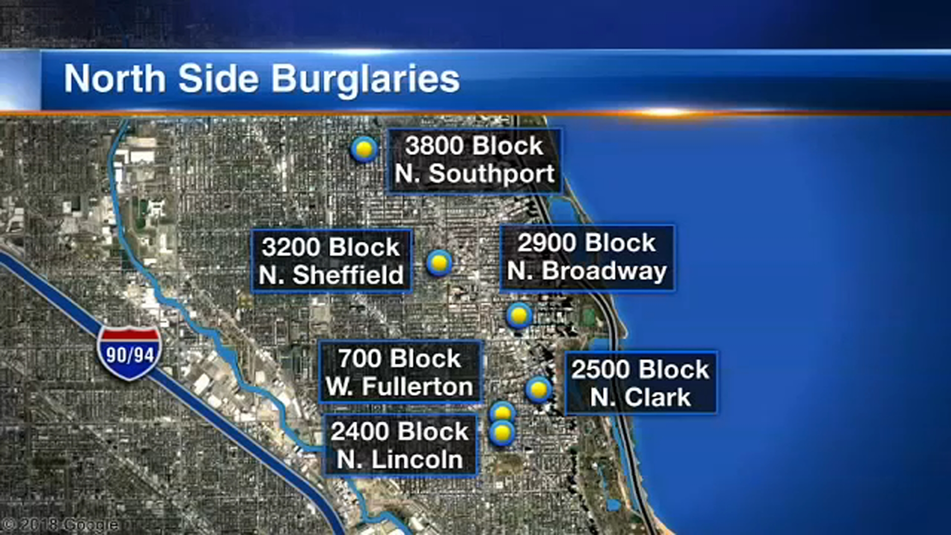 Chicago police are looking into six buglaries of businesses in Lake View and Lincoln Park since late November.
