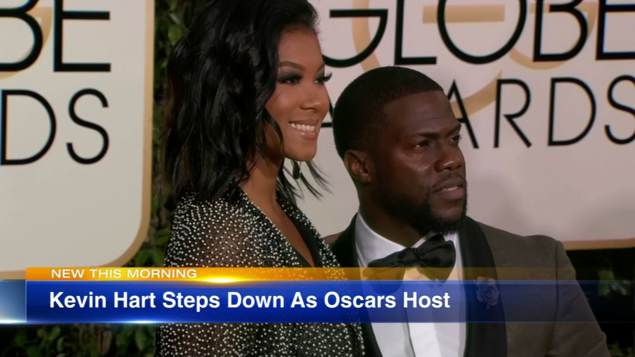 Kevin Hart says he has stepped down as Oscars host following an outcry over previous anti-gay tweets by the comedian.