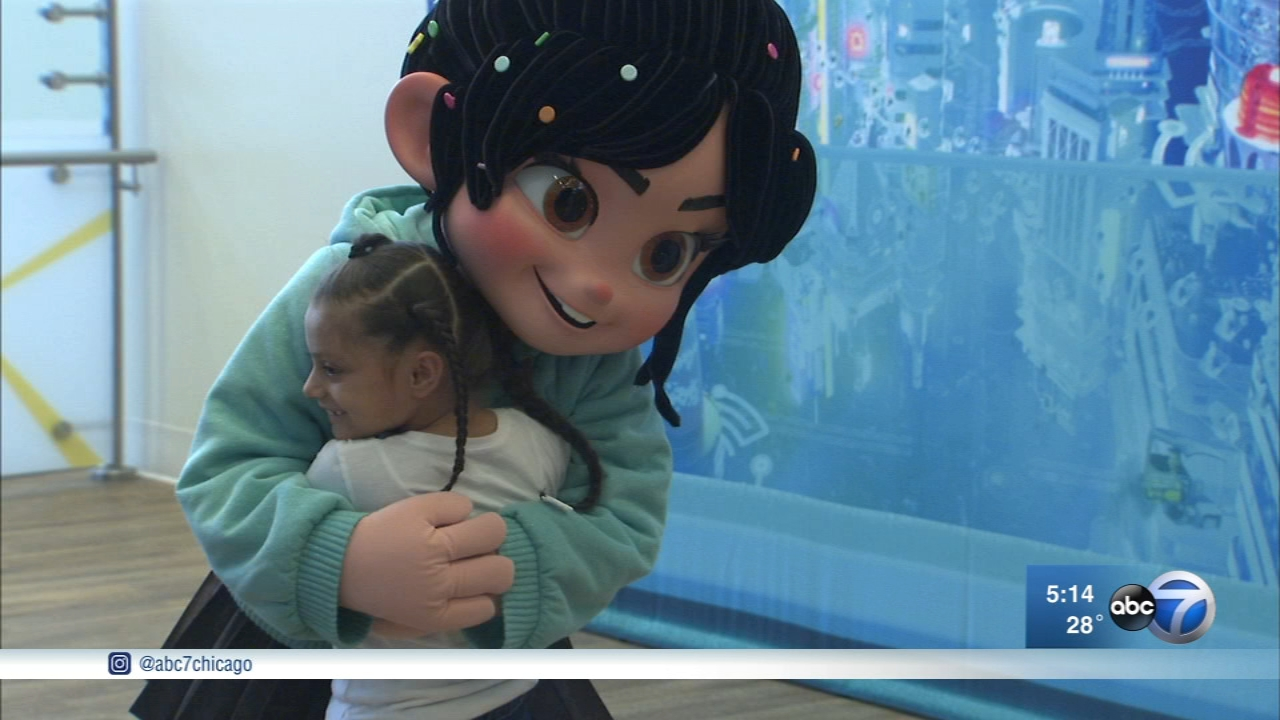 "Penelope, a character from the ""Wreck-It Ralph"" children's movie, visited with patients at La Rabida Childrens Hospital in Chicago."