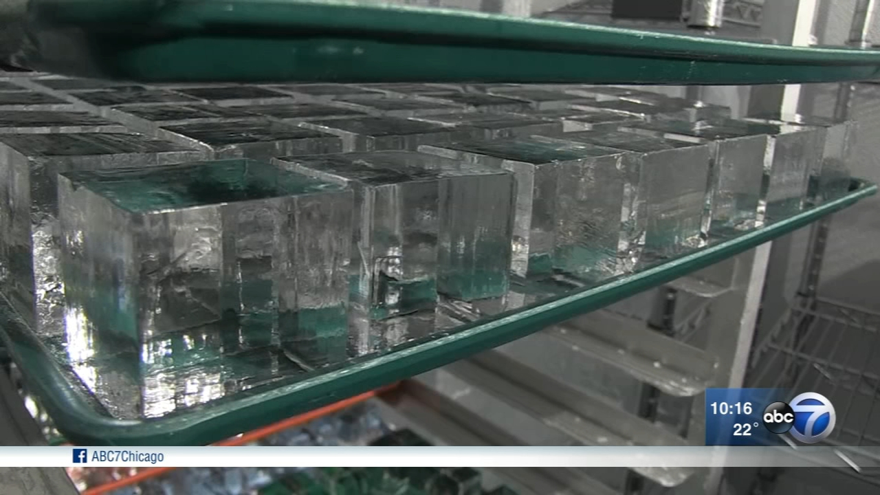 Quari Handcrafted Ice produces 1.8 inch cubes, as well as two-and-a-half inch spheres, the result of a special Japanese machine that cuts half-moons into large, rectangular blocks.
