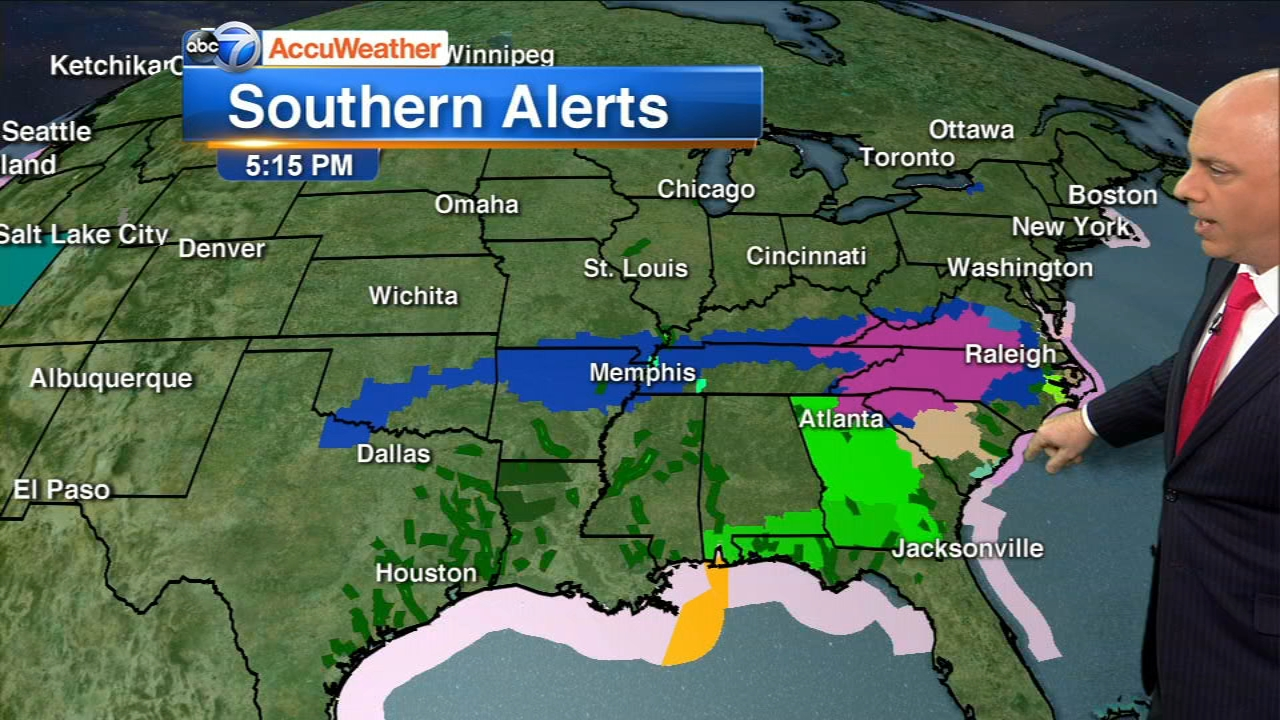 More than 20 million people are under winter storm watches and warnings from New Mexico to North Carolina.
