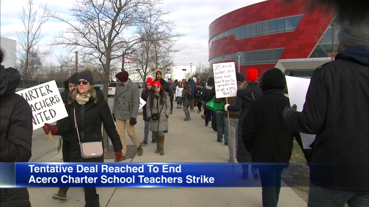 The Acero Charter School Network reached a tentative agreement early Sunday with its teachers, who have been on strike since Tuesday.