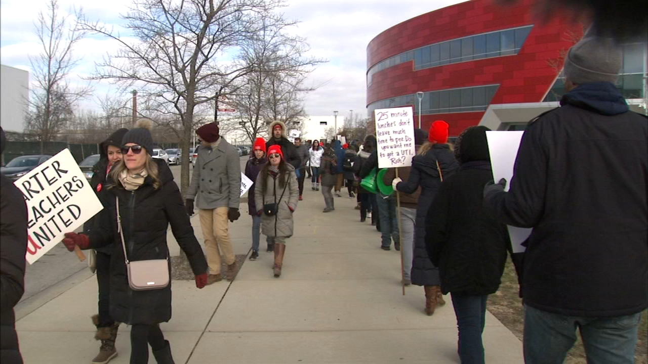 Students and teachers head back to class Monday at 15 Acero charter schools in Chicago after the end of a teacher strike that lasted nearly a week.