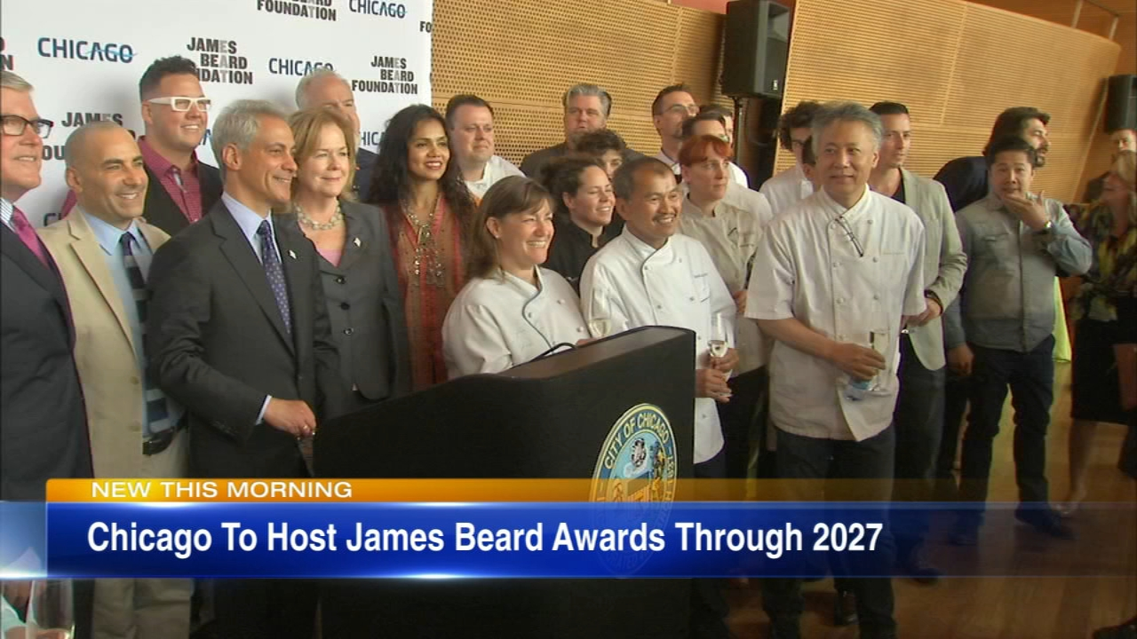 The James Beard Awards will continue to be held in Chicago for the next nine years, Mayor Rahm Emanuel's office said Monday.