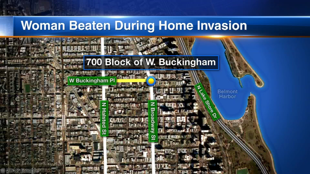 A home invader attacked a woman with a wine bottle and a porcelain dish in Chicagos Boystown neighborhood Sunday morning, police said