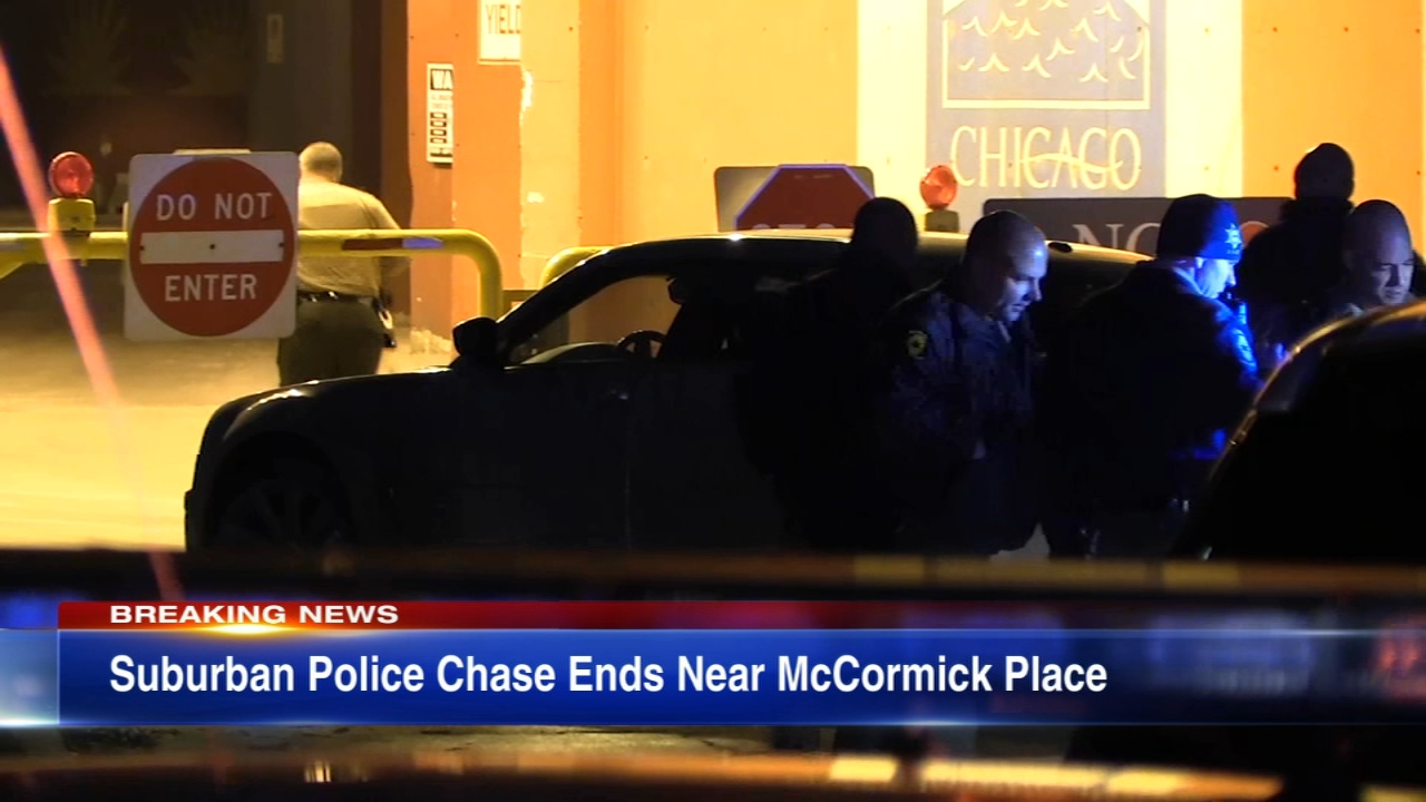 Four people are in custody after a police chase that started in Coal City, Ill. ended in Chicago at McCormick Place Tuesday morning, Illinois State Police said.