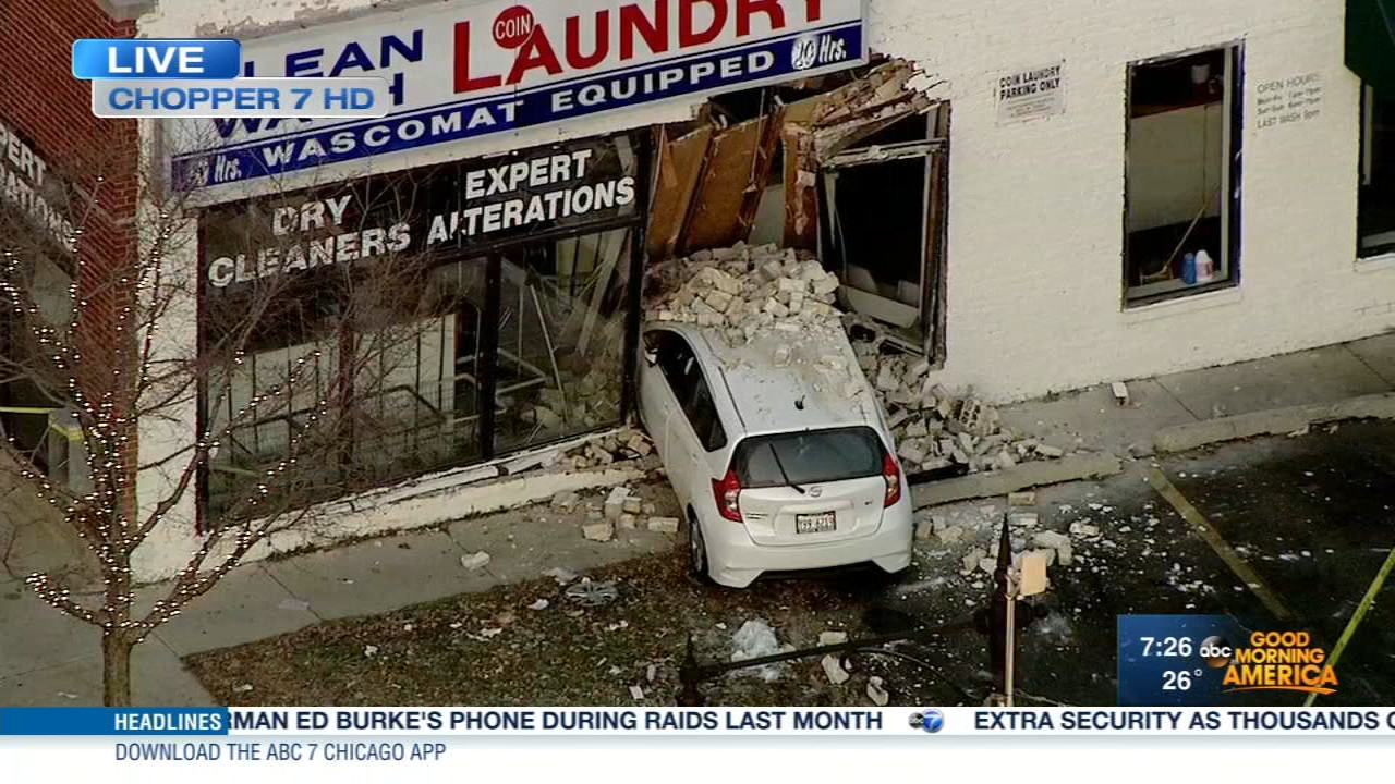 Police are investigating after a car crashed into a laundromat in north suburban Evanston Tuesday morning.